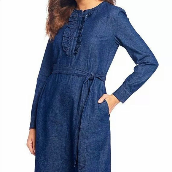 Draper James Dresses & Skirts - New Draper James Chambray Ruffle Placket Dress 0
